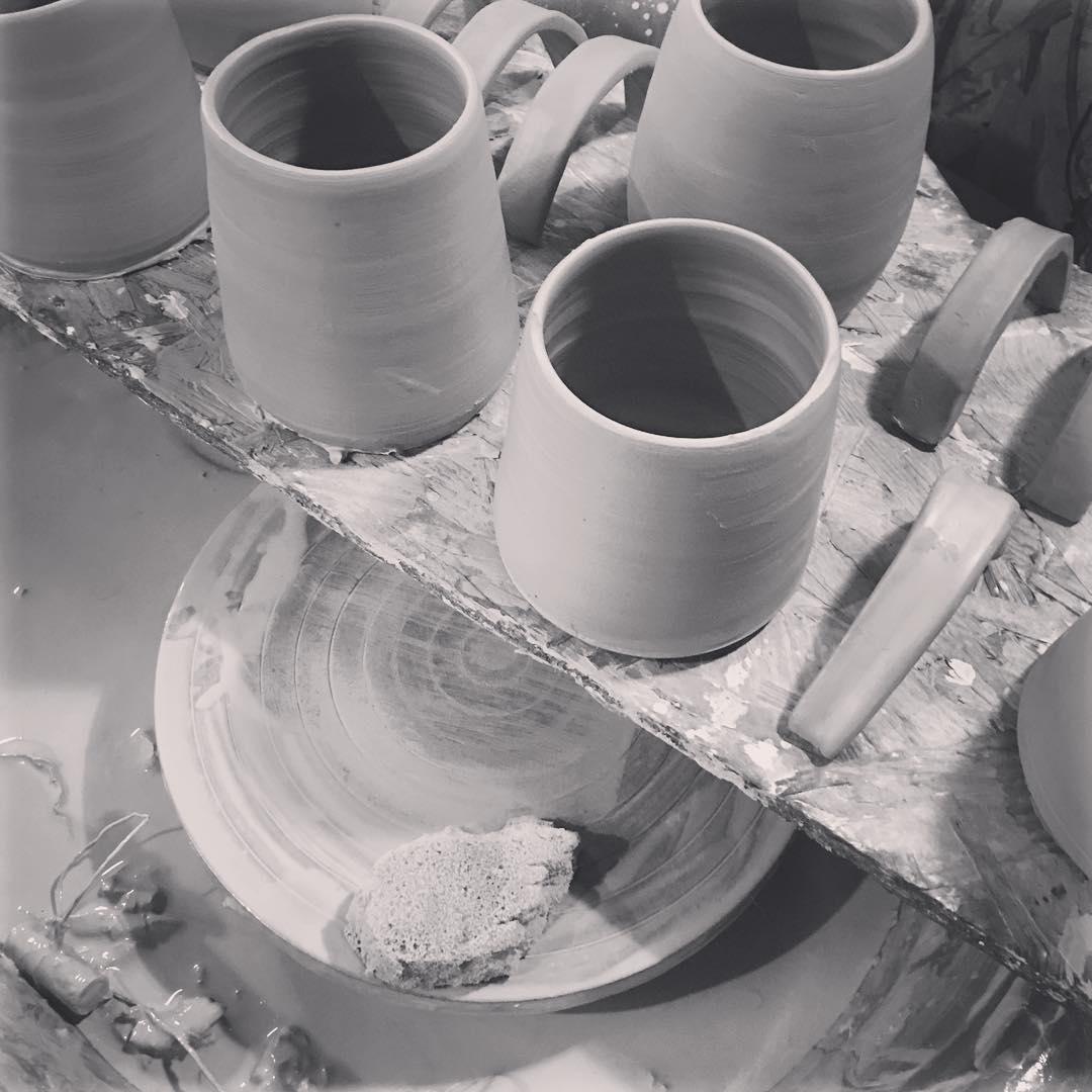 A few more mugs ready for handles… #handmadechristmasgifts #potterywheel #handmademugs