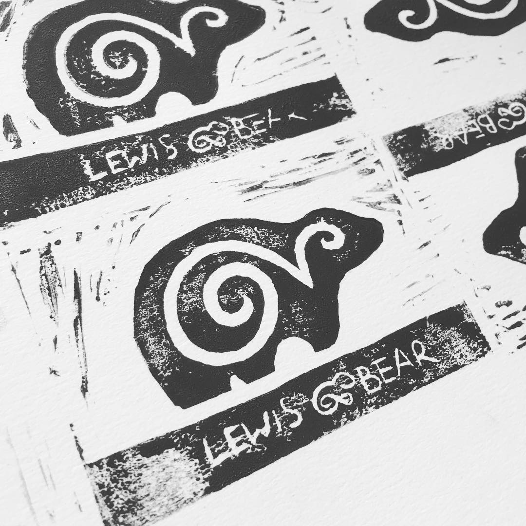 The first #linocut of the new logo …. #handprinted