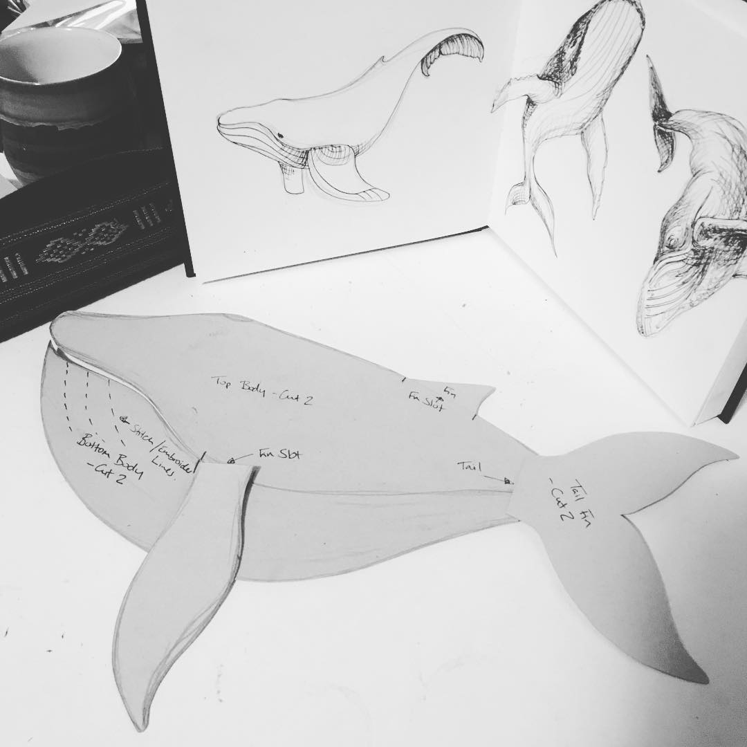 Whale #patterncutting for this evenings #sewingprojects #handmadetoys