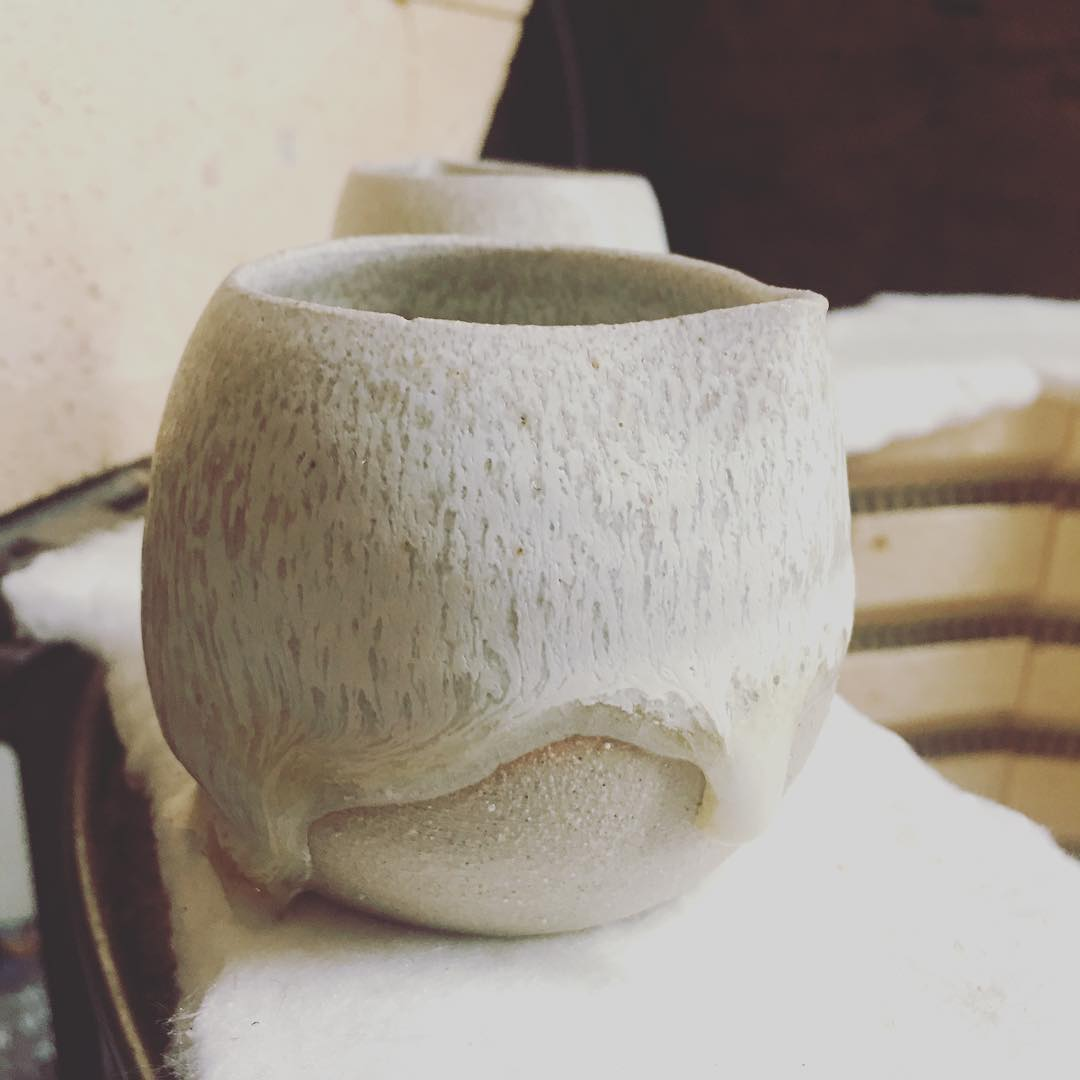 Really like the #newglaze but a bit sad that it ran and the pots stuck to the kiln shelf… #creativelessons #kilnaccident