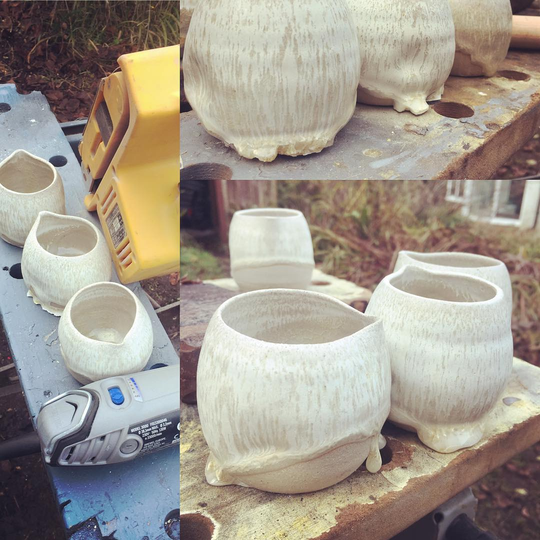 A little bit of grinding, sanding a dremelling! #jugs #pourers #problemsolved