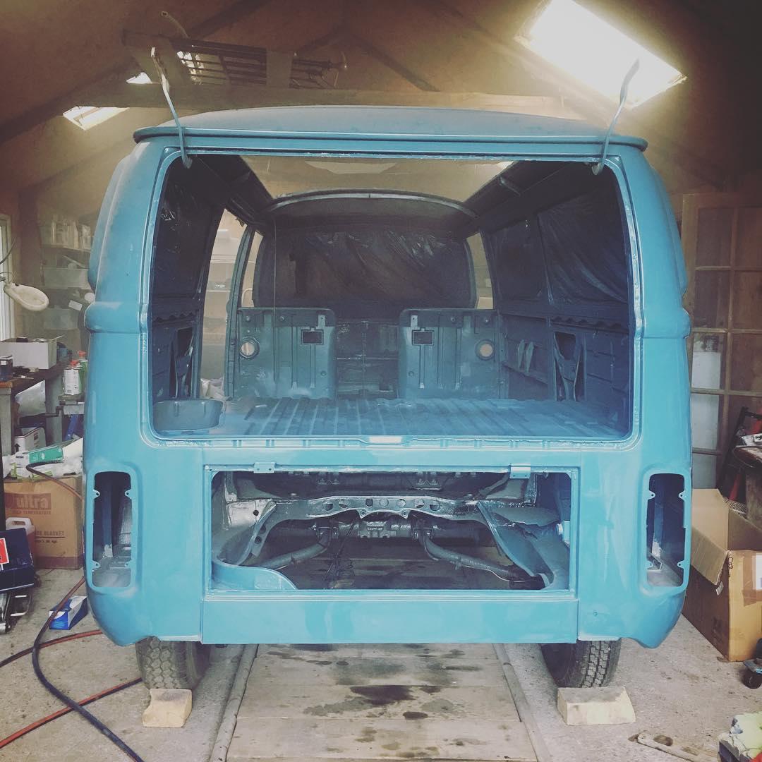 Final coat of paint on the van and we can start putting it back together! #vanlife #vwt2 #vwrestoration