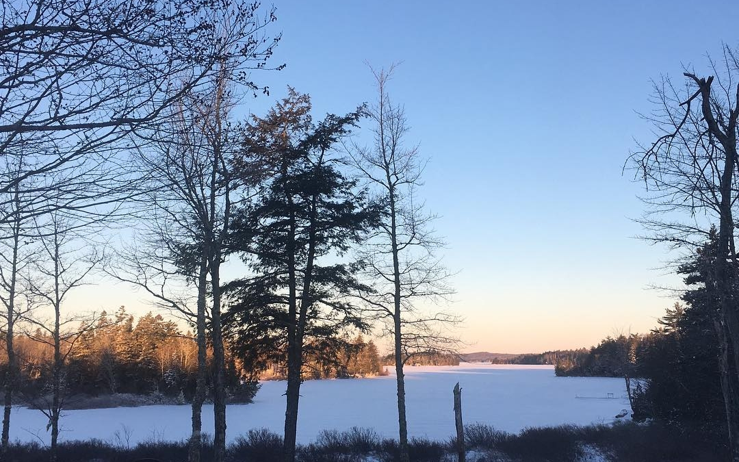 Sunrise over the snow covered lake #moosehorn #nofilter #snow #mainelife
