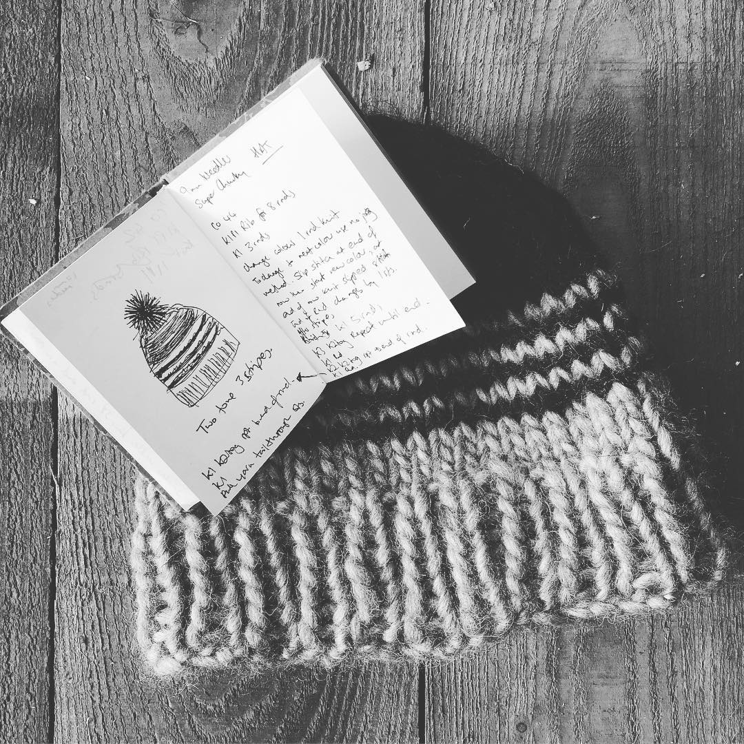 The latest project… #handknitted woolly hat in super chunky #bluefacedleicester #welshblackmountain only the bobble to go! #welshwool #britishyarn #woollyhat