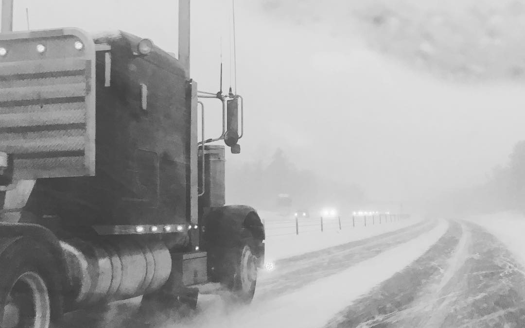 A very snowy drive North with big trucks for company! #snowstorm #winterdriving #roadtrip